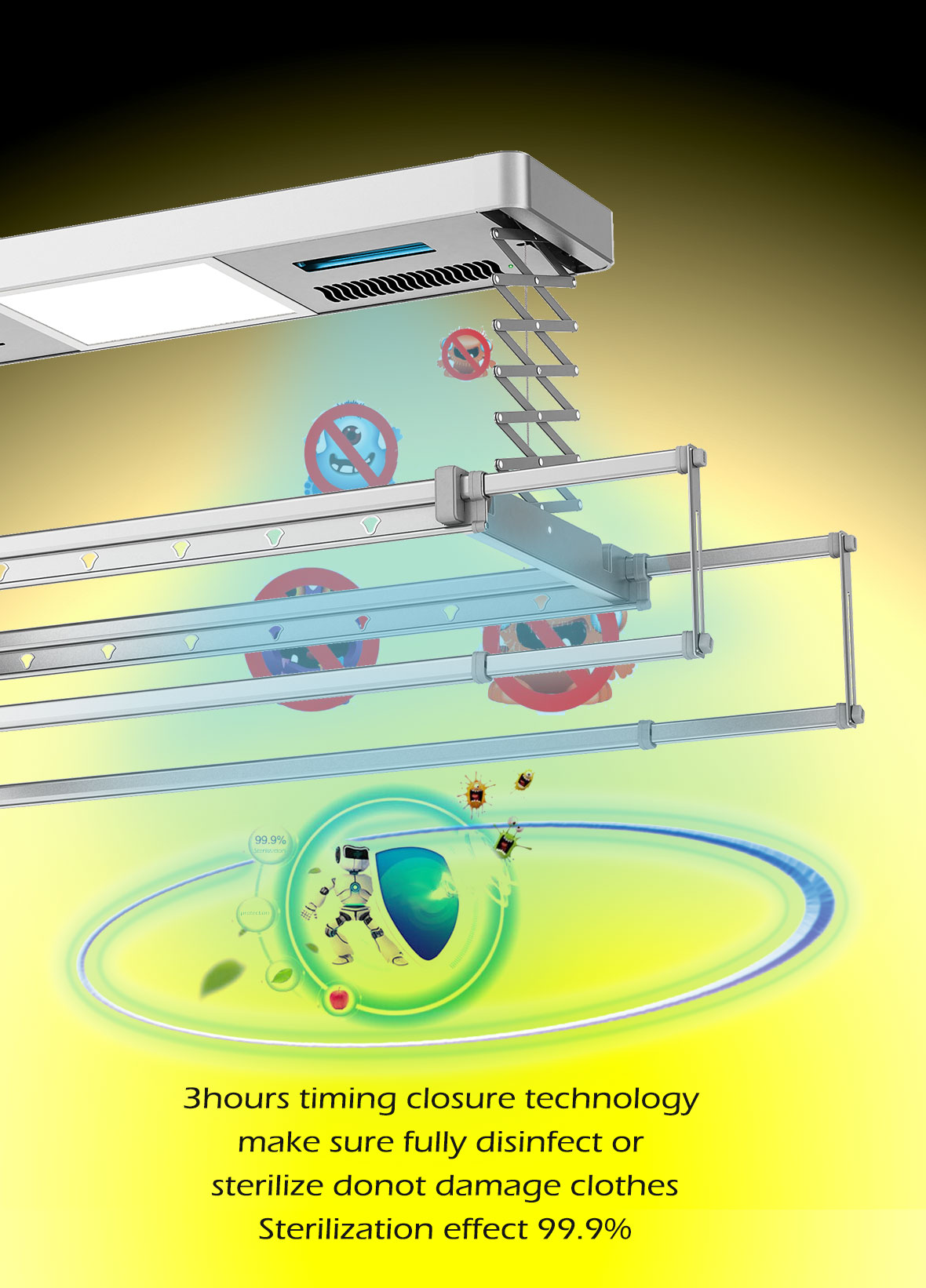 automatic clothes drying rack with sterilization